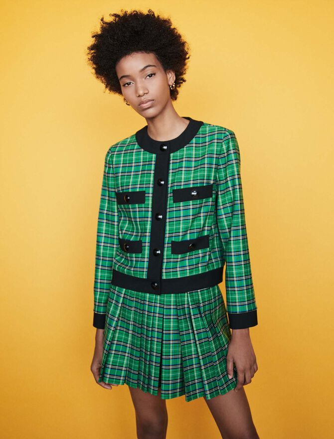 Plaid jacket with 4 pockets - SoldesFR_ALL - MAJE