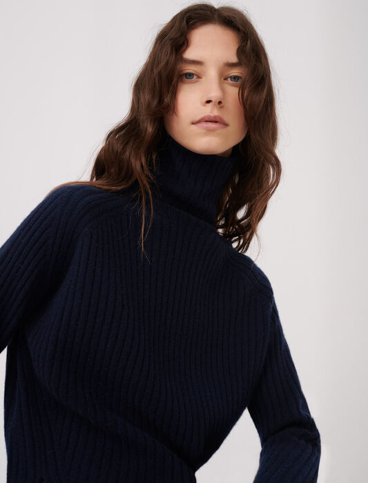 High neck cashmere sweater : All the collection color Night Blue