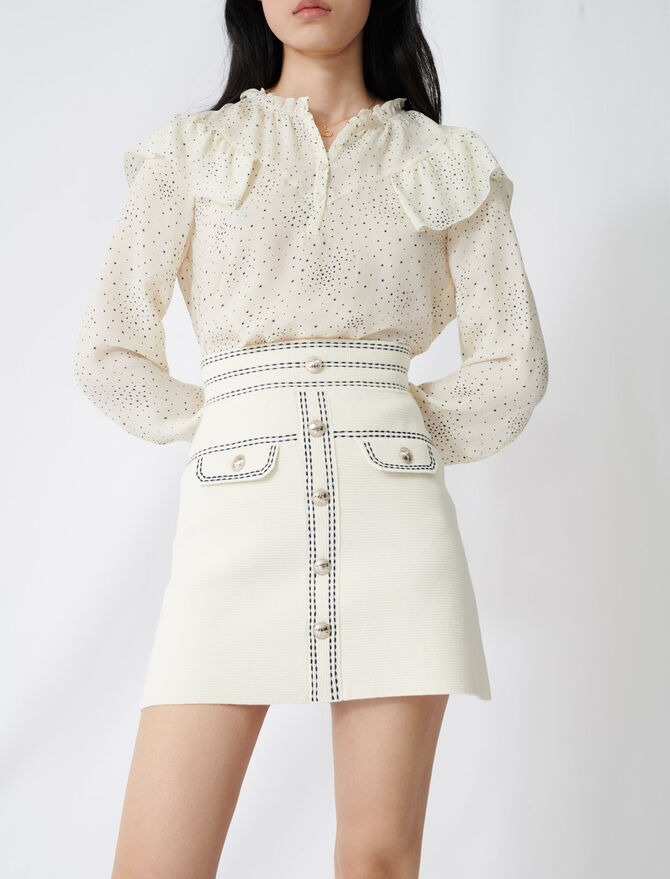 Skirt with contrasting topstitching -  - MAJE