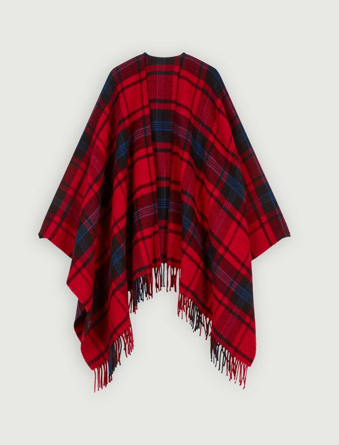 Whool-blend plaid poncho -  - MAJE