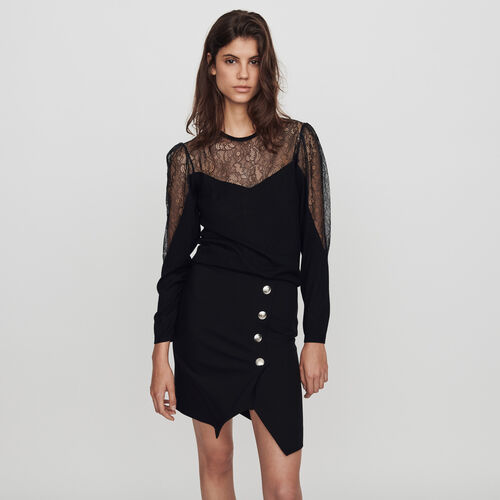 Light knit and lace sweater : Winter collection color Black