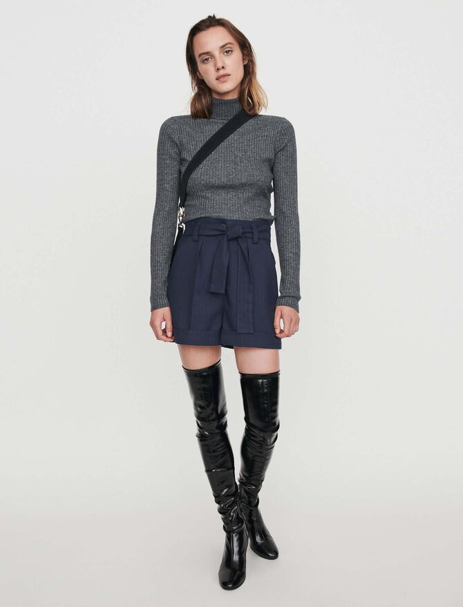 Belted shorts with tennis stripes - Skirts & Shorts - MAJE