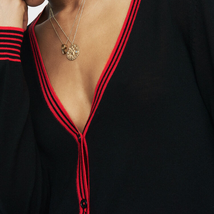 Fine knit merino wool cardigan : Knitwear color Black 210