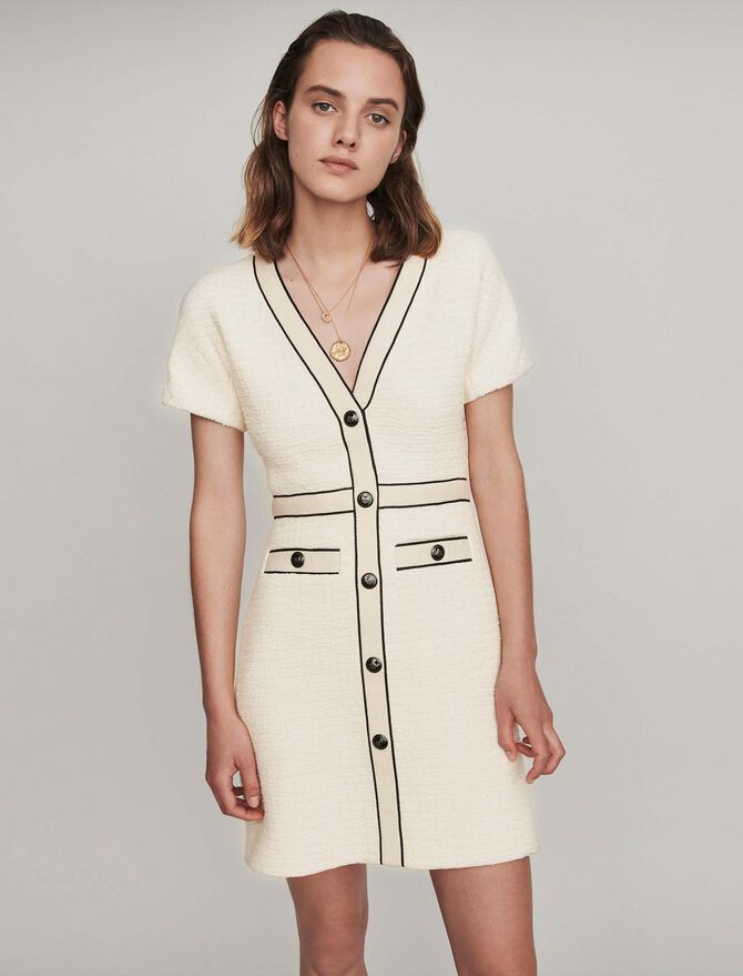 Tweed-style contrast dress -  - MAJE
