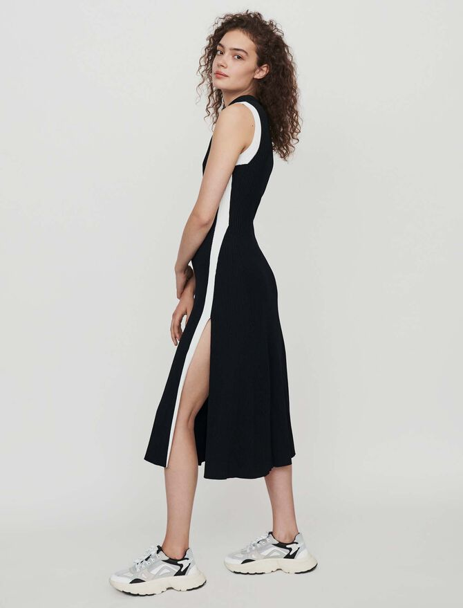 Split and contrasting ribbed dress -  - MAJE