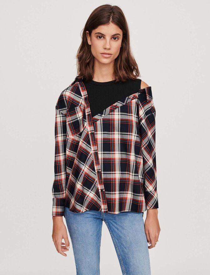 Trompe-l'oeil checkered shirt - SoldesBE_50 - MAJE