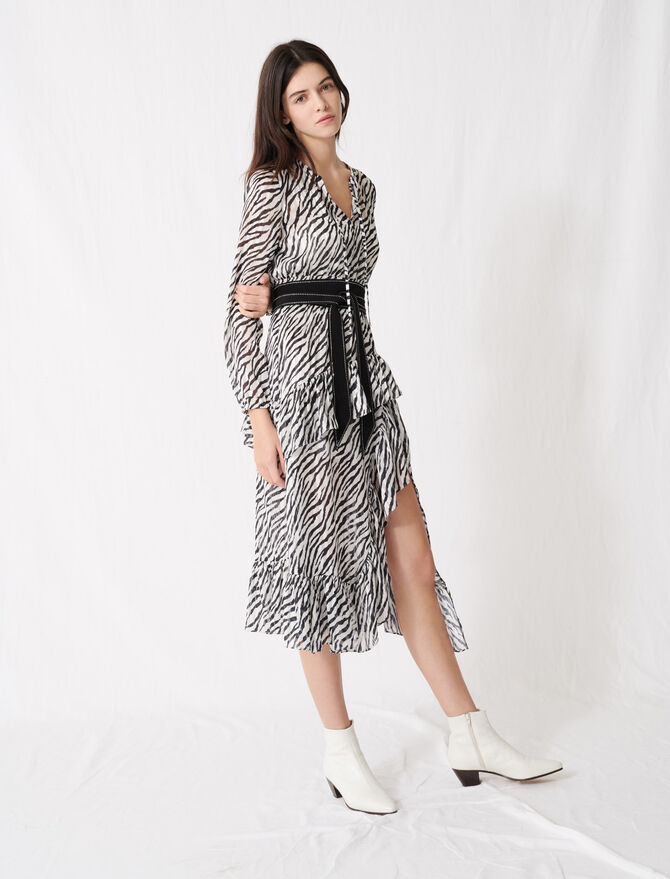 Printed black and white asymmetric dress -  - MAJE