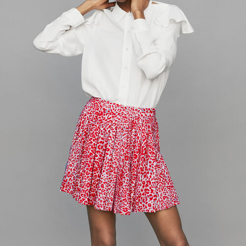 Pleated skirt with leopard print : Skirts & Shorts color PRINTED