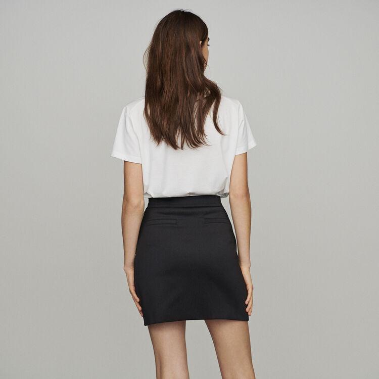 Short skirt with slogan band : Skirts & Shorts color Black 210