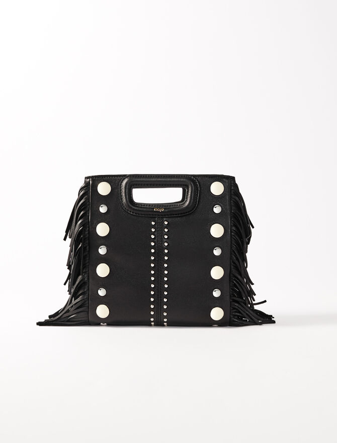 Leather M bag with studs -  - MAJE