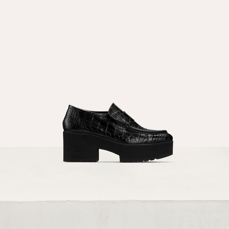 Crocodile-style leather : Flat shoes color Black 210
