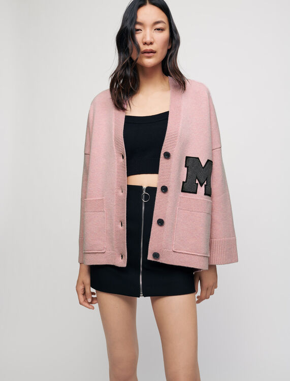 M patch college cardigan - Pullovers & Cardigans - MAJE