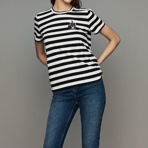 Striped cotton T-shirt with crest : T-Shirts color Stripe