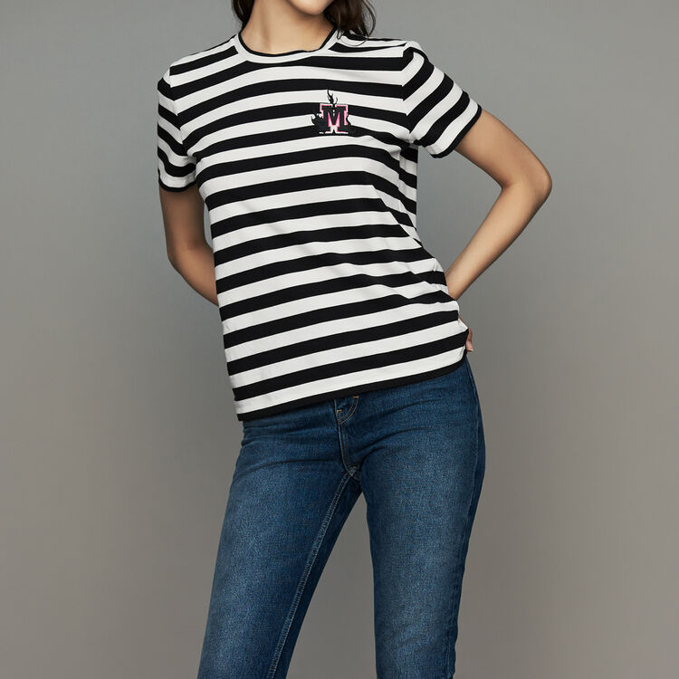Striped cotton T-shirt with crest : T-Shirts color Stripe