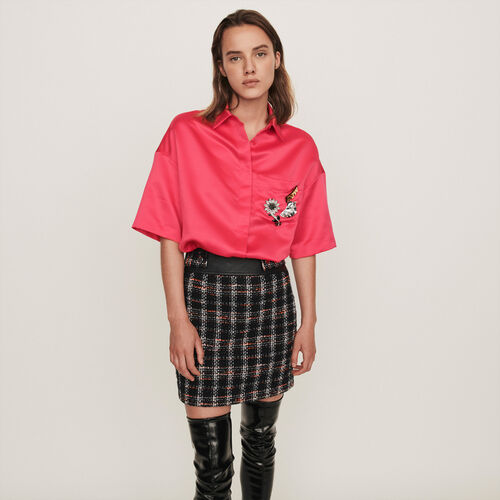 Satin shirt with jeweled pocket : Winter collection color Pink