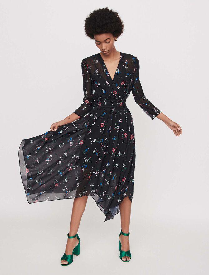 Printed-muslin scarf dress - SoldesBE_Robes - MAJE