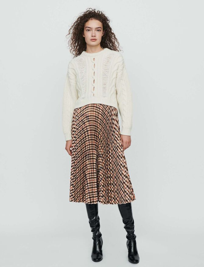 Elasticated pleated plaid skirt - Skirts & Shorts - MAJE