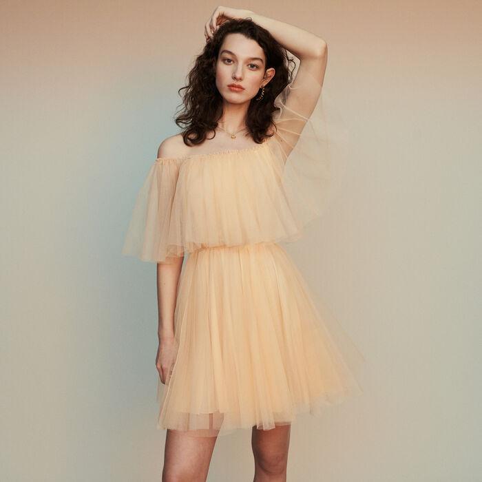 Bare-shouldered tulle dress : Dresses color Mandarine
