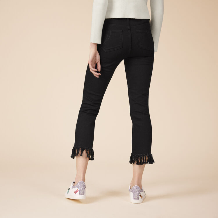 Tasselled short jeans : null color Black 210