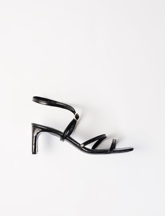 Embossed leather midi-heeled mules -  - MAJE