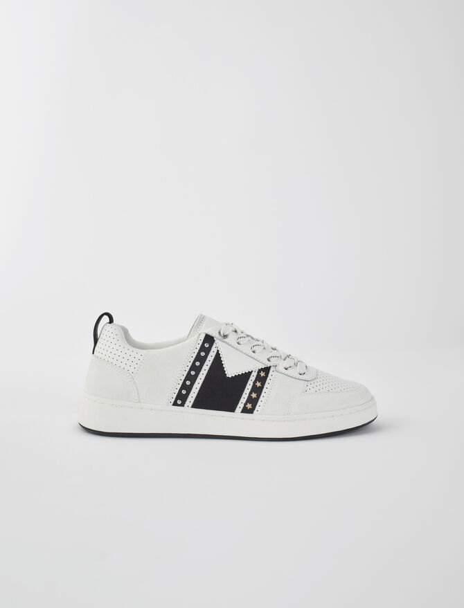Black and white leather sneakers -  - MAJE