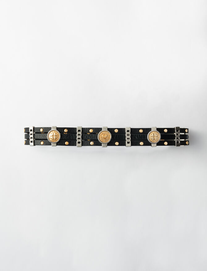 Leather belt with medallions - Belts - MAJE