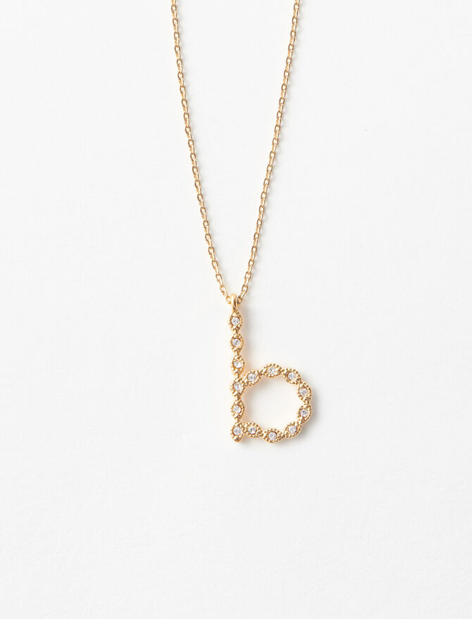 Rhinestone B necklace -  - MAJE