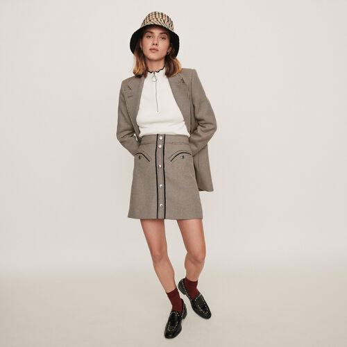 Plaid pencil skirt : Campaign FW19 color Camel
