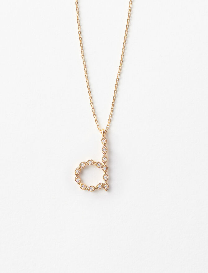 Rhinestone D necklace -  - MAJE