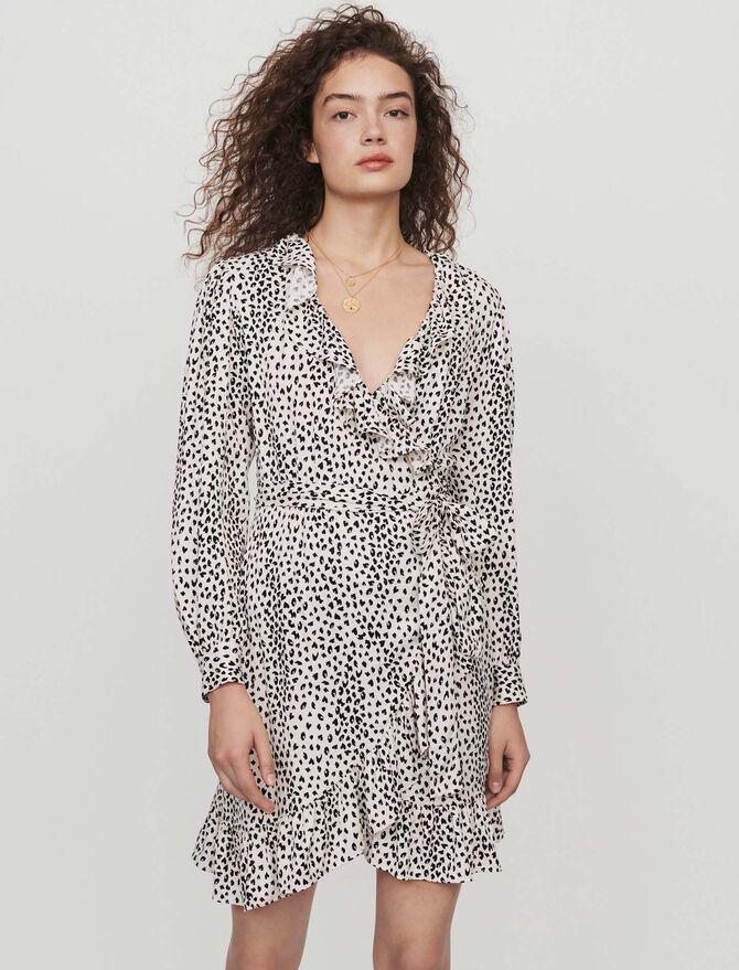 Printed jacquard wrap dress - Best Sellers - MAJE