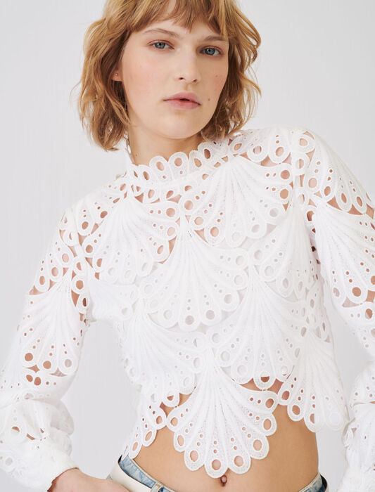 Guipure top : T-Shirts color White