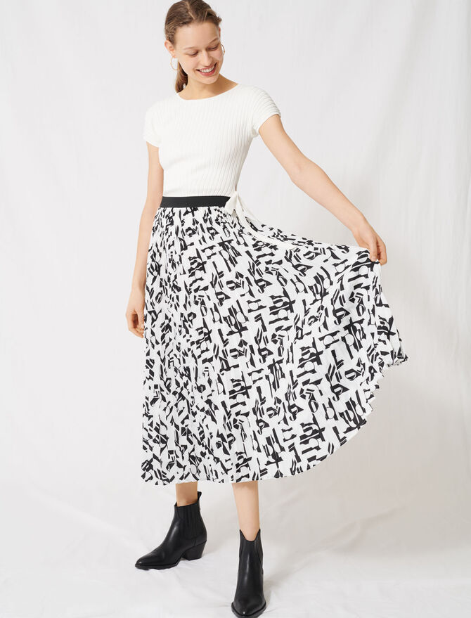 Pleated skirt with an arty print - All the collection - MAJE