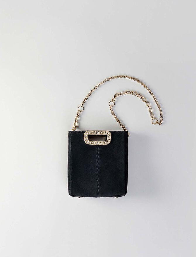 Mini suede M bag with strass handle - Présoldes-Accessoires-BE - MAJE