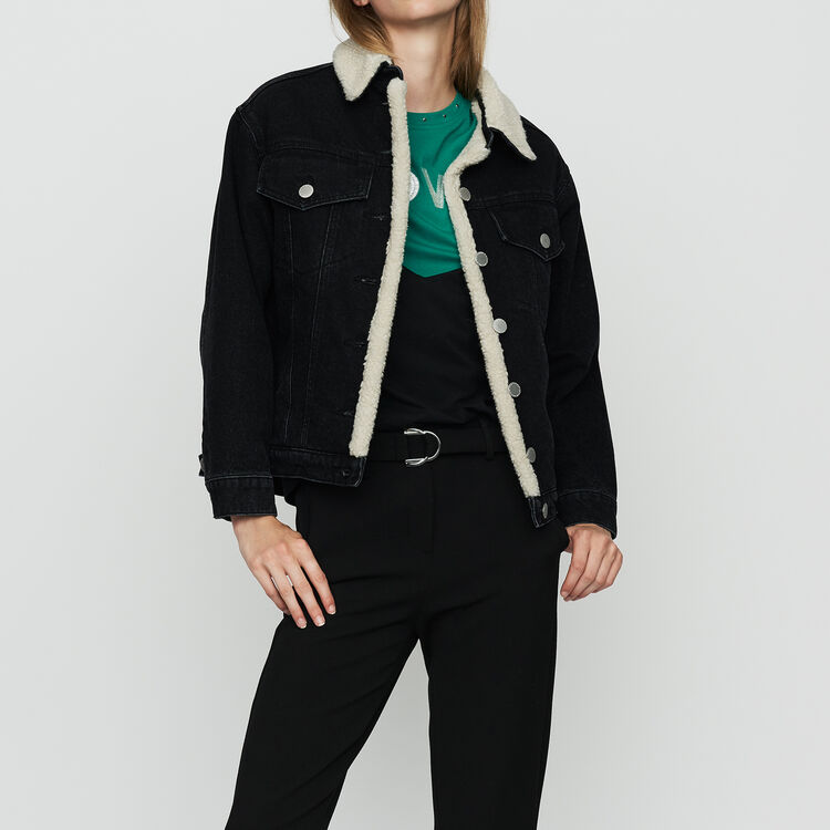 Denim jacket with shearling details : Jackets color Black 210