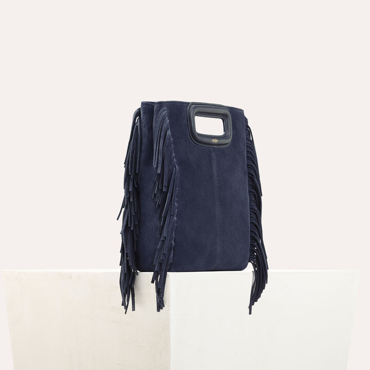 M bag with suede fringes : M bag color Navy