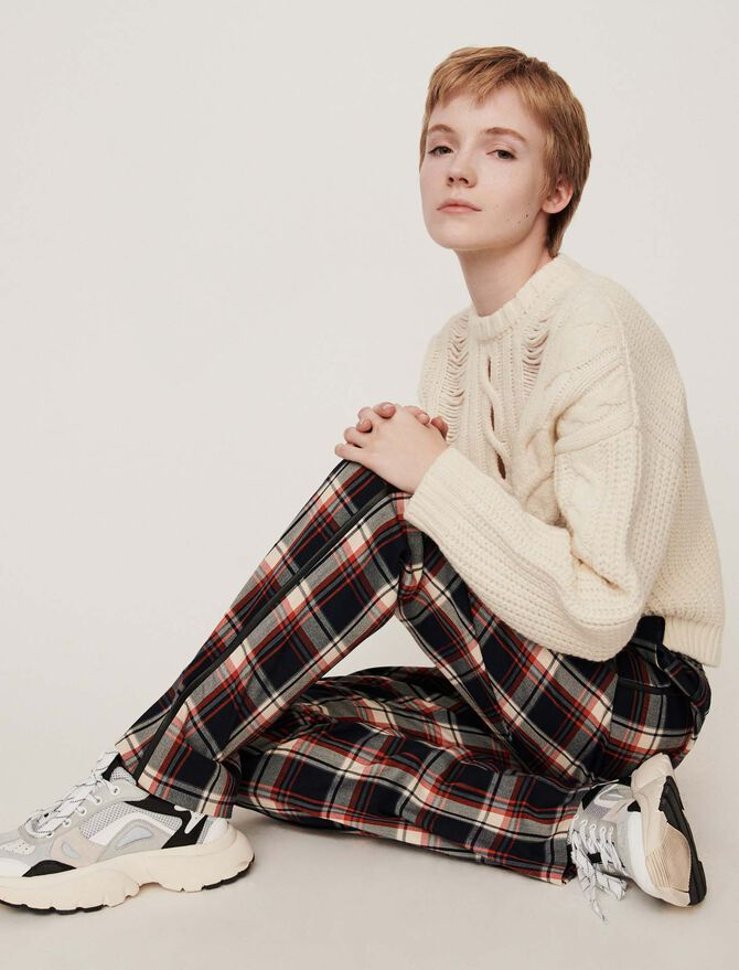 Elasticated plaid pants -  - MAJE