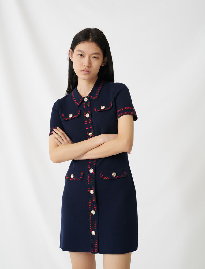 Knit dress with contrasting topstitching -  - MAJE