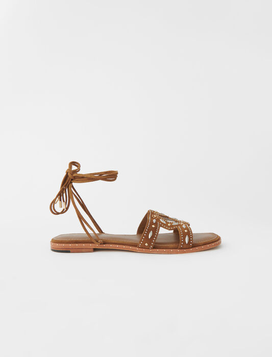 Flat tie sandals with studs : Slipper color Caramel