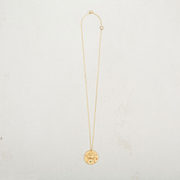 Cancer zodiac sign necklace : Party Wear color GOLD