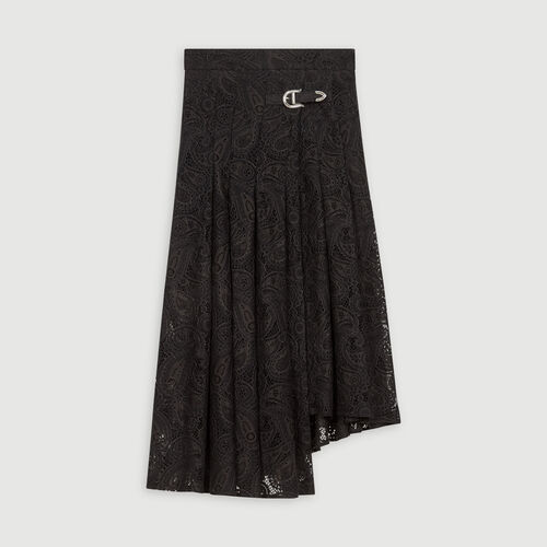 Guipure skirt with cashmere detail : Skirts & Shorts color Black