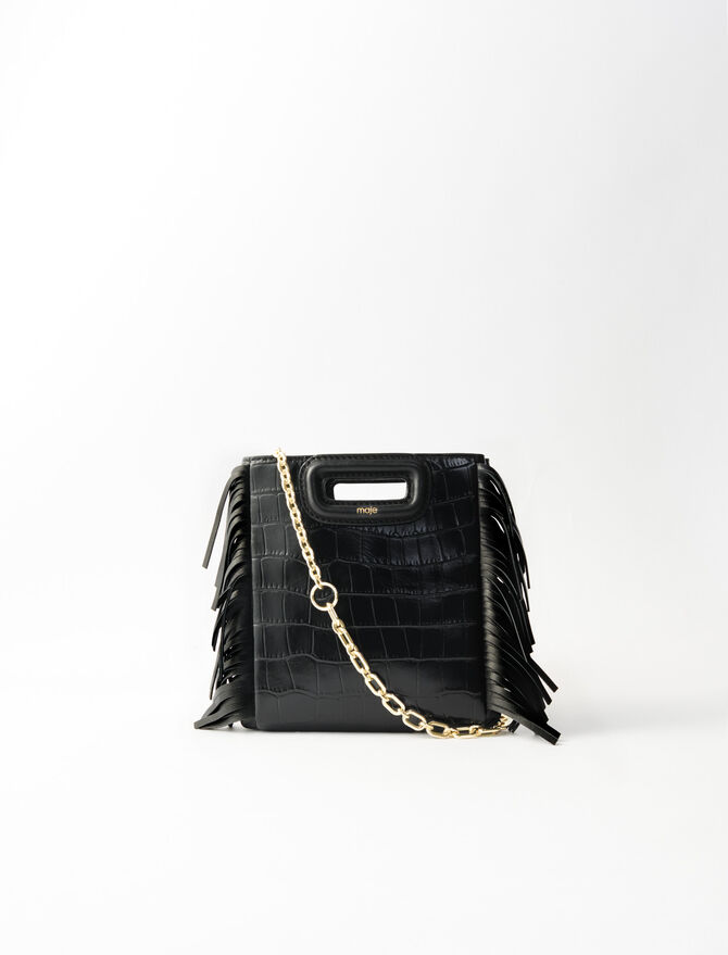 Mini embossed-leather M bag with chain -  - MAJE