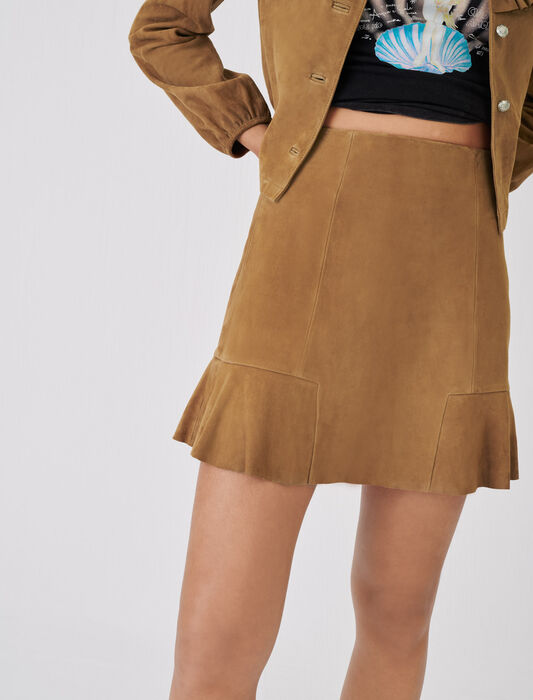 Ruffled suede skirt : Skirts & Shorts color Camel