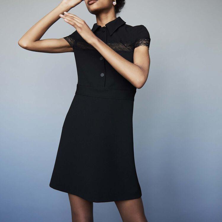Crepe shirt dress : Dresses color Black 210