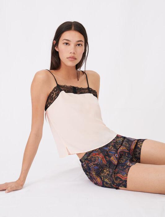 Print pyjamas with lace kit : Homewear color Peach