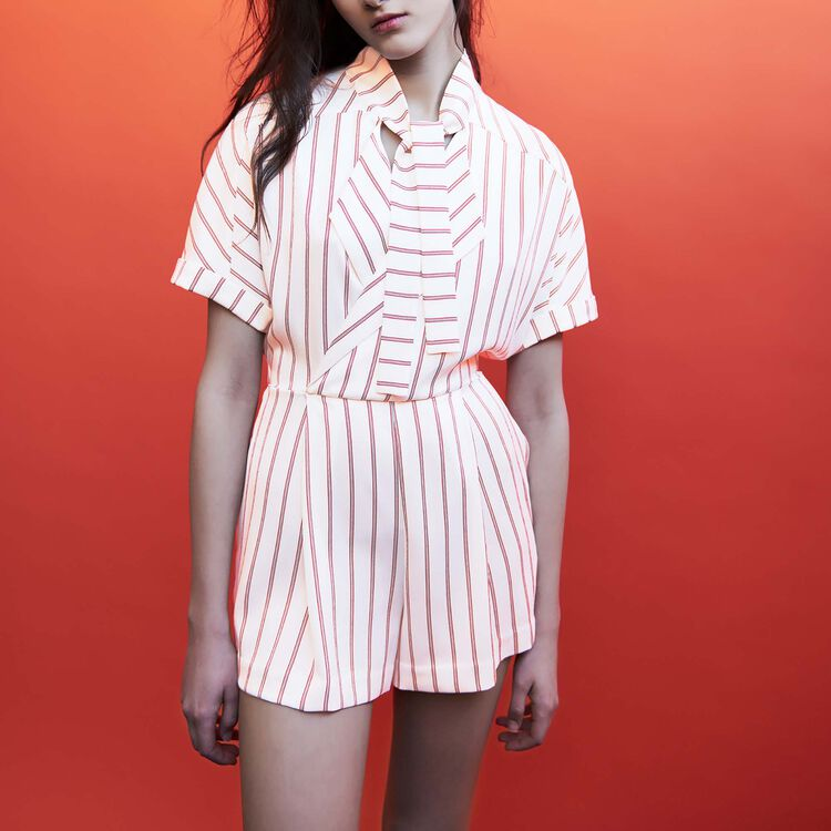 Draped striped romper : staff private sale color Stripe