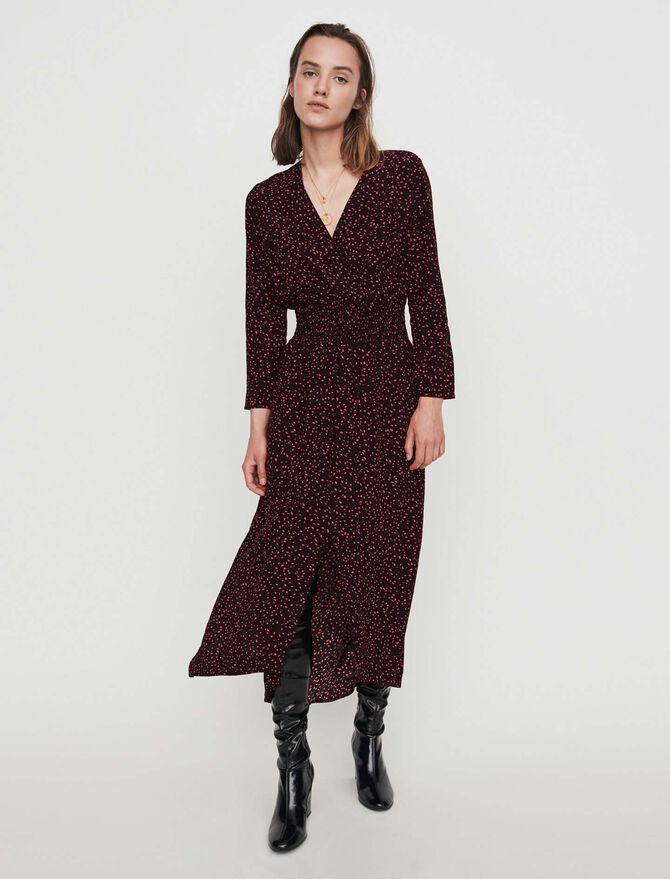 Printed-crepe smock dress - More discounts - MAJE