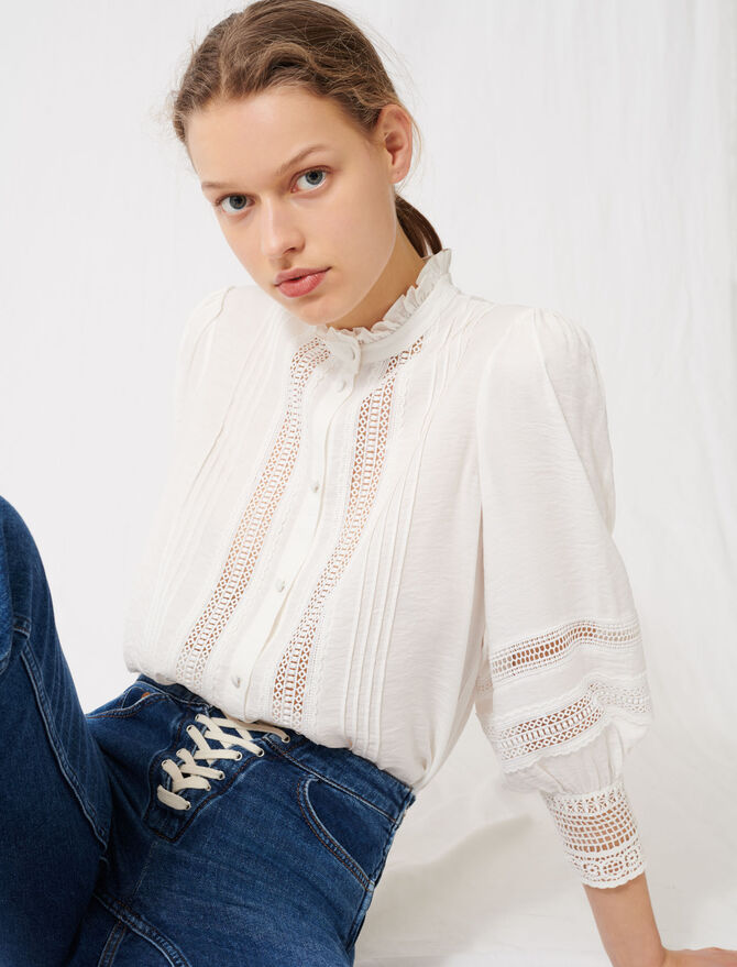 Romantic cotton and lace shirt - Tops & Shirts - MAJE