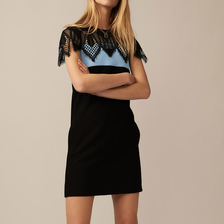 Tricolor dress with guipure lace : staff private sale color BLUE/SKY BLUE