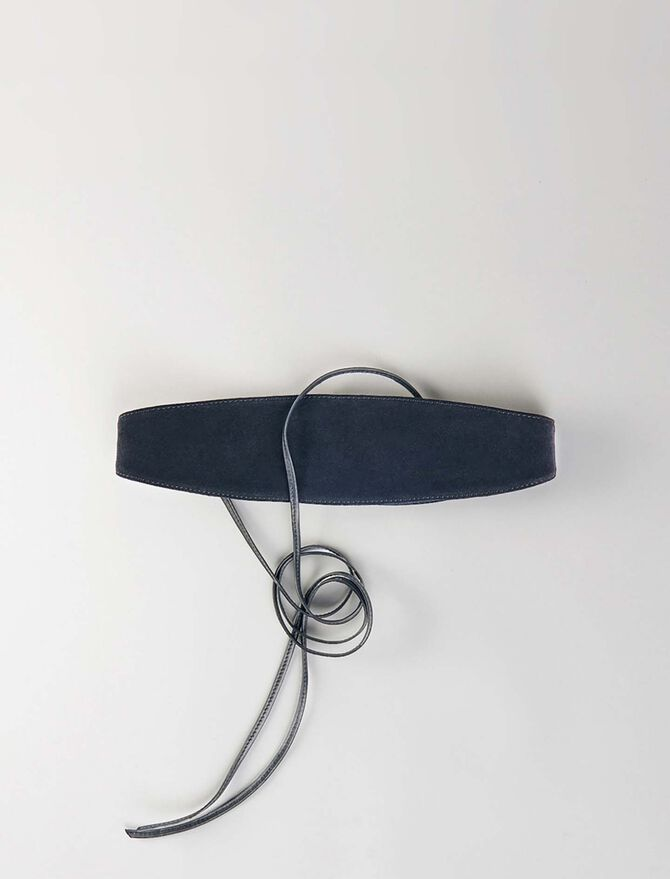 Suede belt with ties -  - MAJE