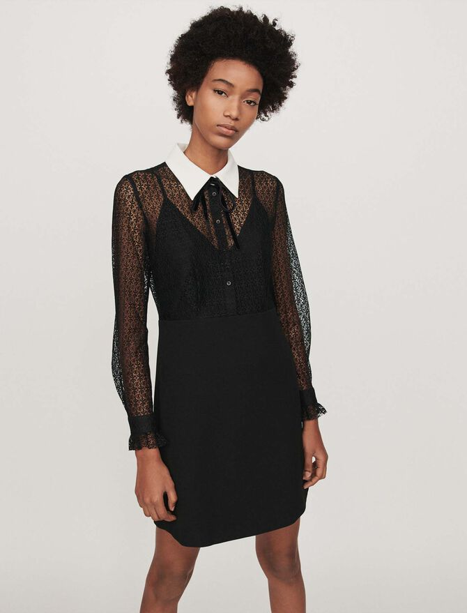 Contrast-collar guipure and crepe dress -  - MAJE